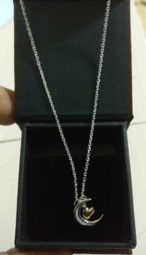 1/10 CT. T.W. Diamond Crescent Moon and Heart Dangle Pendant photo review