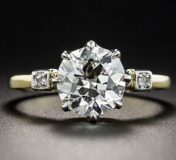 1Ct Heart Shape VVS1 Diamond Three Stone Engagement Ring In 14K Yellow Gold Over