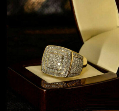 10K Yellow Gold Finish Round Cut Diamond Mens Wedding Band Engagement Ring 925 Sterling Silver