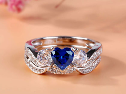 Engagement Ring 2.45Ct Heart Cut Blue Simulated 14K White Gold Fn in 925 Silver