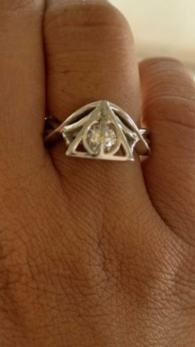 1.07Ct White Round Harry Potter Deathly Hallows Engagement Christmas gift 925 Silver Ring, Christmas Offer SJ7737 photo review