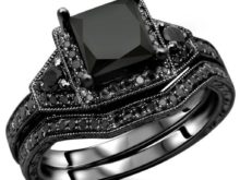 2.00 Carat Black Princess Cut With CZ Diamond Engagement/Wedding Ring Bridal Set In Solid 925 Sterling Silver SJ7937
