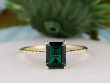 Gemstone Ring, 6x8mm Emerald Cut Lab Created Emerald Ring, Solid 14K Gold Ring, Engagement Ring, Simulated Diamond Ring, Wedding Set Ring, SF7857