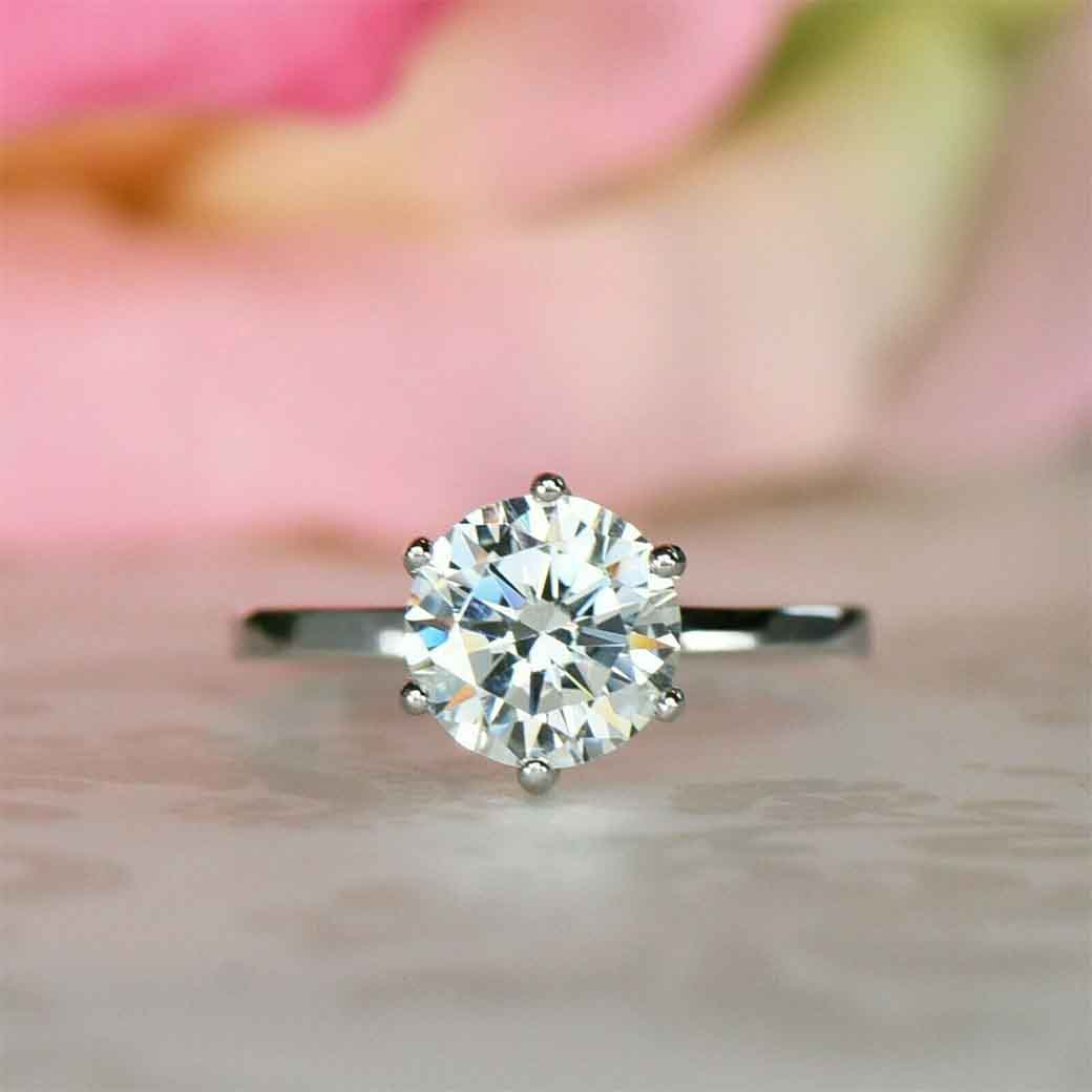 2.00ct Round Cut Simulated Diamond Solitaire Engagement Ring 14k White Gold Finish Silver