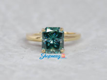 Blue-Green Radiant Moissanite Ring / Moissanite Proposal Solitaire Ring / Yellow Gold Women's Ring / Perfect Engagement Ring For Fiancee SJ8290