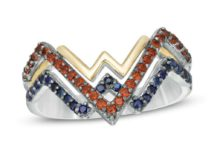 Wonder Woman Collection 1/4 Carat Garnet and Blue Round Cut Sapphire Engagement Ring & Wedding Bands In Solid 925 Silver SJ8319