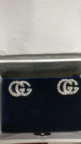 Gucci Running G Pave 0.50 Carat White Round Cut CZ Stone Stud Earring In 14K Gold For Women's Gifts SJ8341 photo review