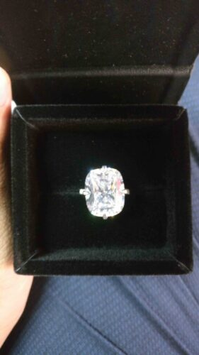 White Cushion Cut Half Eternity, Kim Kardashian Inspired, 925 Sterling Silver ring, Engagement ring, gift for her SJ8505 photo review