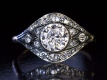 An Antique Art Deco Ring | 1.0 Ct White Round Cut Diamond Engagement Ring | Art deco Vintage Ring | Gift For Her | Unique Ring | Art Deco SJ8926