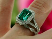 4.0 Carat Green Emerald With Curve CZ Diamond Band Bridal Set, Engagement Ring In 925 Sterling Silver SJ2216