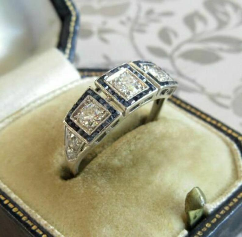 Vintage Art Deco Style Three 1.95 Carat White Round Cute Cubic Zirconia Engagement Wedding Ring In 925 Sterling Silver SJ2487