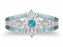 Engagement Ring Enchanted Disney Blue Topaz Frozen Jewelry Sterling Silver ring SJ2597