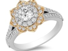 Enchanted Disney Fine Jewry 0.5 Ct Round Diamond Jasmine Engagement Ring In Sterling Silver With Yellow Gold Finish Sunflower Ring Antique SJ2830